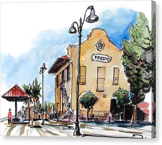 Old Fresno Depot Canvas Print