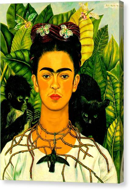 Mexican Canvas Print - Frida Kahlo Self Portrait With Thorn Necklace And Hummingbird by Pg Reproductions