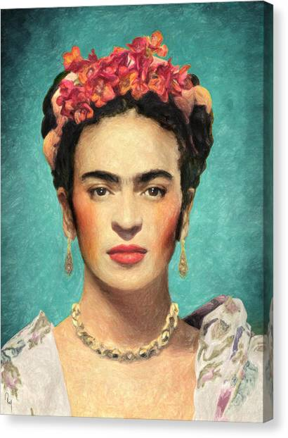 Painters Canvas Print - Frida Kahlo by Taylan Soyturk
