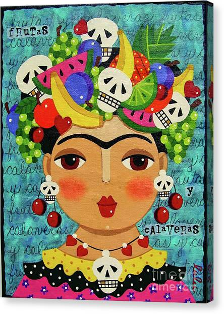 Canvas Print Featuring The Painting Frida Skulls And Fruits By LuLu Mypinkturtle