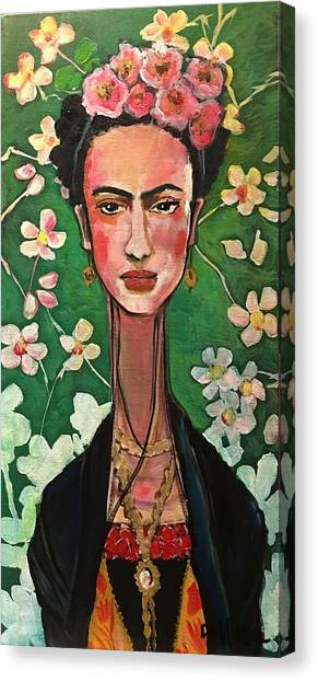 Canvas Print featuring the painting Frida You Are My Vogue by Laurie Maves ART