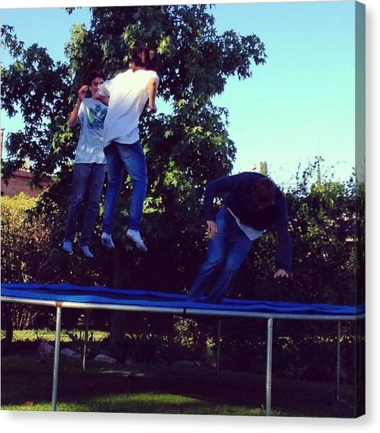 Trampoline Canvas Print - Friends ❤😱 #lovethem #fun #jumping by Gin  Ivanovic
