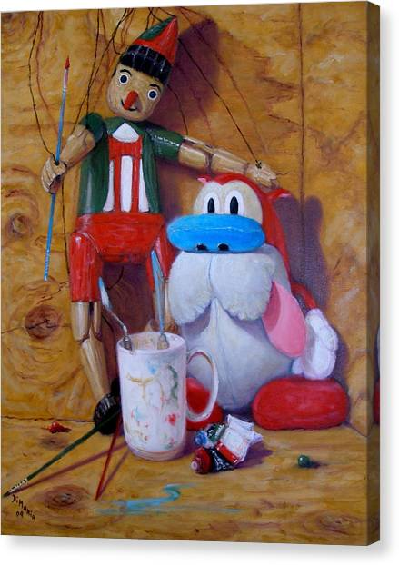 Friends 2  -  Pinocchio And Stimpy   Canvas Print