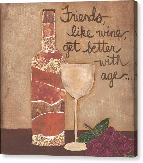 Friends And Wine Canvas Print