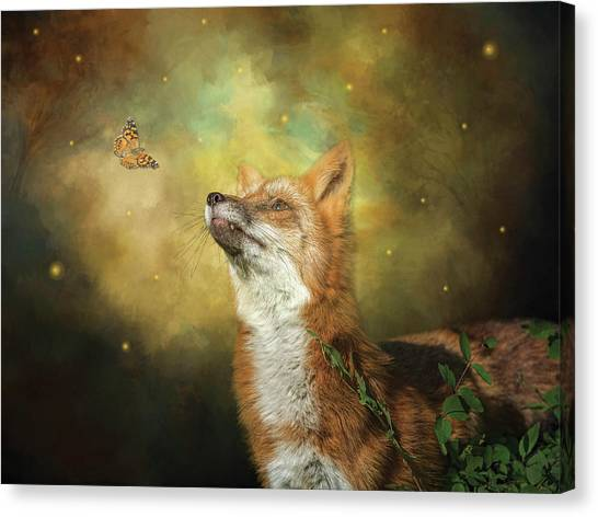 Friends On A Firefly Evening Canvas Print