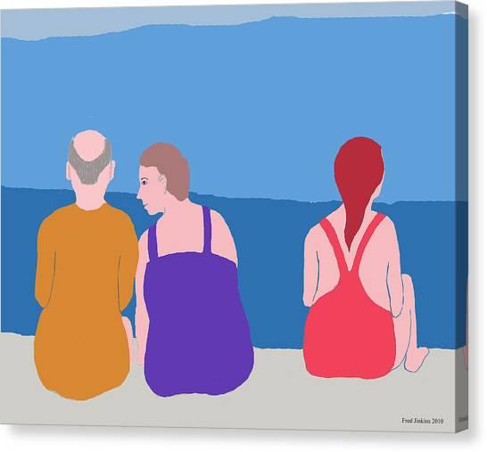 Friends On Beach Canvas Print