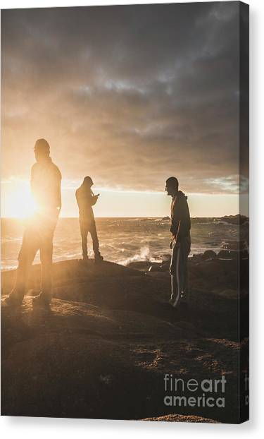 Surf Lifestyle Canvas Print - Friends On Sunset by Jorgo Photography - Wall Art Gallery