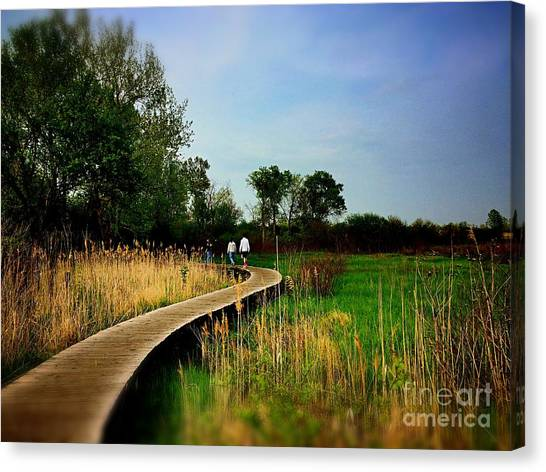 Friends Walking The Wetlands Trail Canvas Print