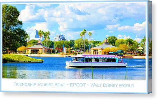 Friendship Boat On The Lagoon Epcot Walt Disney World Canvas Print