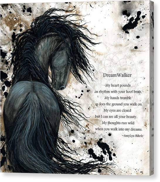 Black Stallion Canvas Print - Friesian Dreamwalker Horse by AmyLyn Bihrle