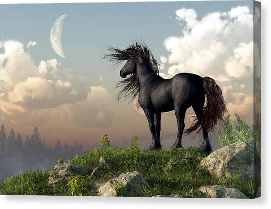 Black Stallion Canvas Print - Friesian Moon by Daniel Eskridge