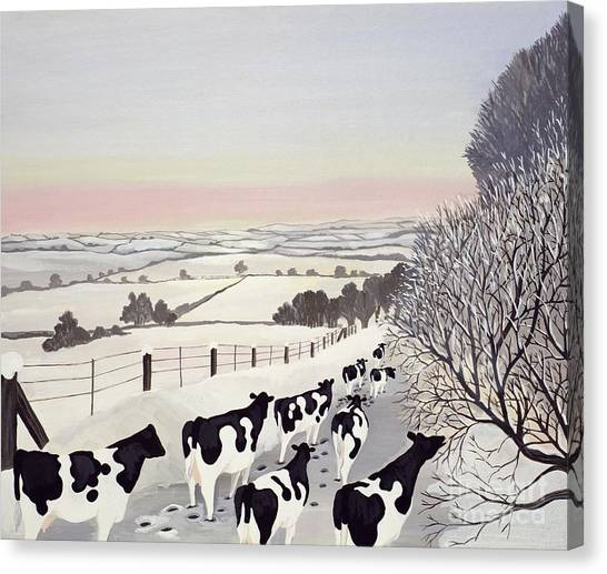 Winter Landscape Canvas Print - Friesians In Winter by Maggie Rowe