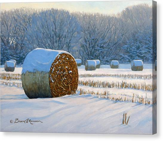 Frigid Morning Bales Canvas Print
