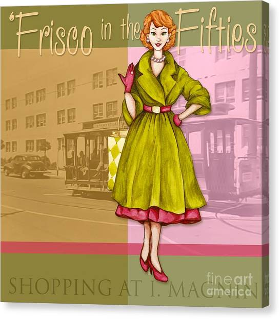 Frisco In The Fifties Shopping At I Magnin Canvas Print