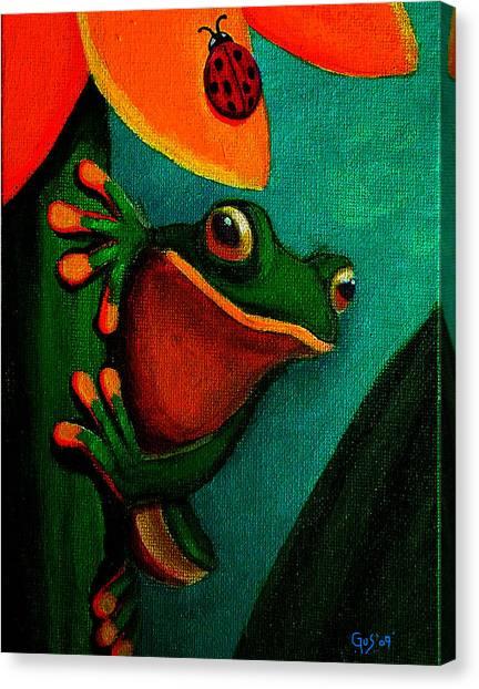 Frog And Ladybug Canvas Print