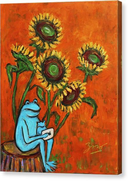 Frog I Padding Amongst Sunflowers Canvas Print