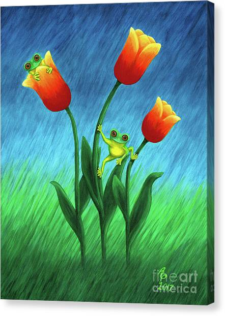 Froggy Tulips Canvas Print