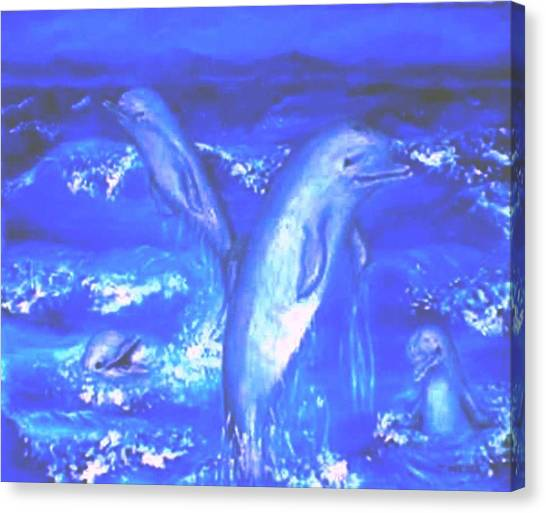 Frolicking Dolphins Canvas Print by Tanna Lee M Wells