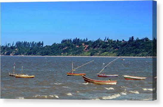 Frolicking Fishing Boats At Ketembe Canvas Print