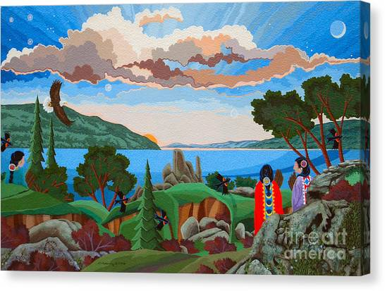 Canvas Print featuring the painting From A High Place, Troubles Remain Small by Chholing Taha