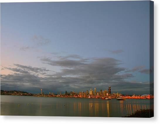 From Alki - Cloudy Night Canvas Print