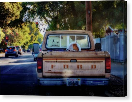 Rusty Truck Canvas Print - Ford From Behind by Terry Davis