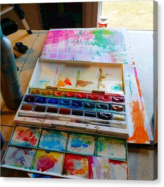 Watercolor Canvas Print - From #palette  To #paper ..adding Some by Robin Mead