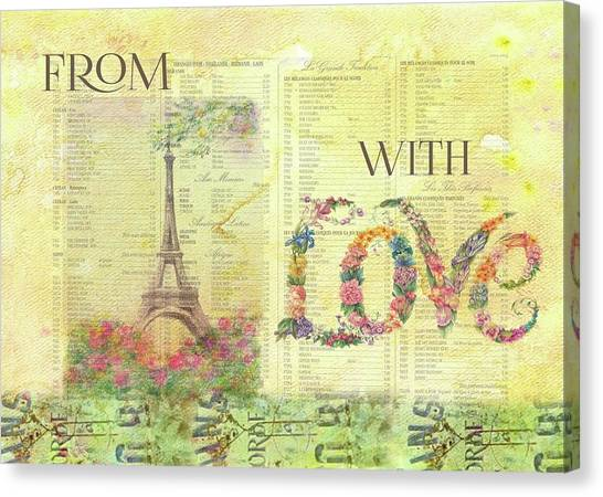 Canvas Print featuring the painting From Paris With Love Eiffel Tower by Judith Cheng
