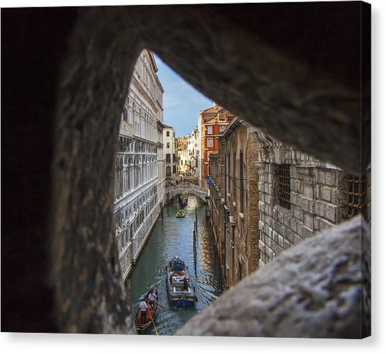 From The Bridge Of Sighs Venice Italy Canvas Print by Rick Starbuck