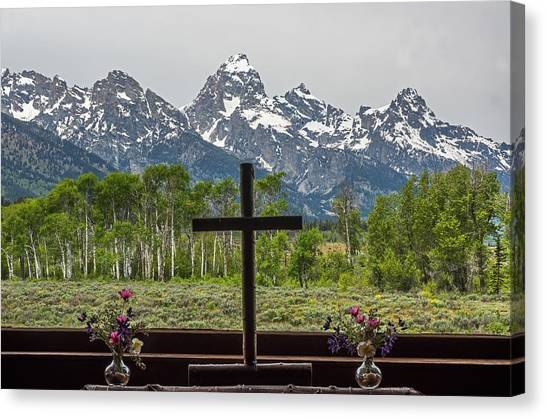 From The Chapel Of The Transfiguration In The The Grand Tetons Canvas Print