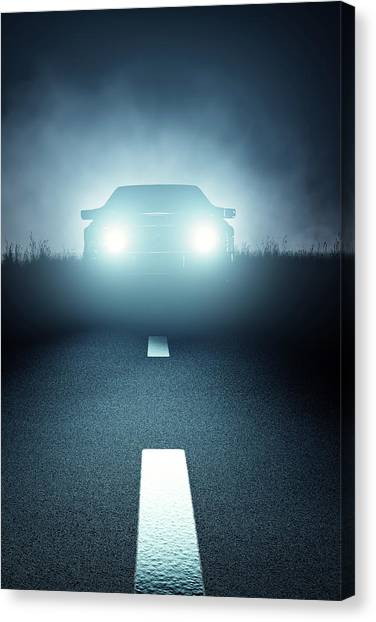 Automobiles Canvas Print - Front Car Lights At Night On Open Road by Johan Swanepoel