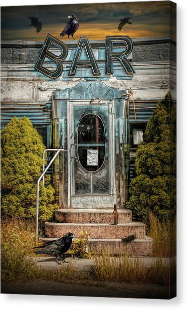 Tv Commercials Canvas Print - Front Door To The Bar Portion Of Historic Rosie's Diner by Randall Nyhof