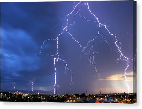 Front Range Lightning Canvas Print by Dave Crowl