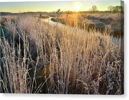 Prairie Sunrises Canvas Print - Frost Along Nippersink On Fall Morning by Ray Mathis