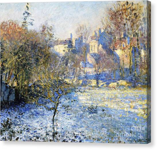 Country Canvas Print - Frost by Claude Monet