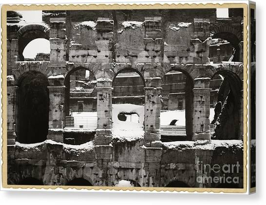 The Colosseum Canvas Print - Frosted Colosseum In Rome by Stefano Senise