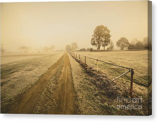 Rustic Canvas Print - Frosted Road In Outback Australia by Jorgo Photography - Wall Art Gallery