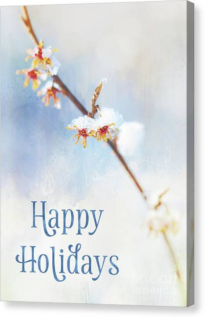 Frosted Witch Hazel Blossoms Holiday Card Canvas Print