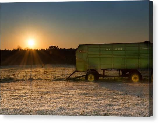 Frosty John Deere Sunrise Canvas Print