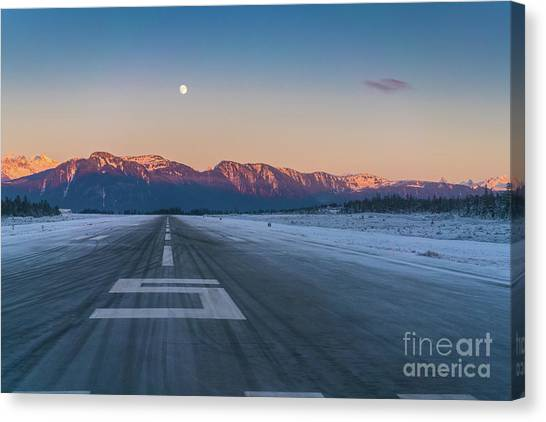 Seaplanes Canvas Print - Frosty Petersburg Runway And Full Moon by Mike Reid