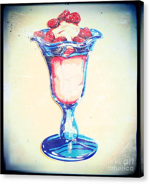 Frosty Vintage Strawberry Parfait Canvas Print