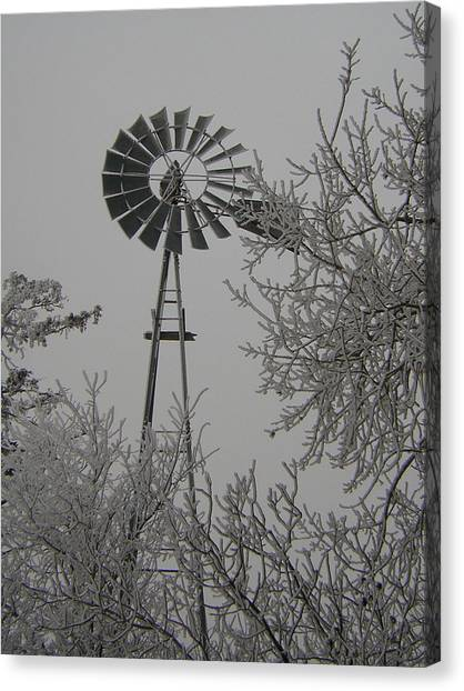 Frosty Windmill Canvas Print by Deena Keller
