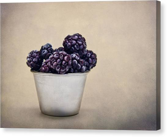 Raspberries Canvas Print - Frozen Berries by Maggie Terlecki