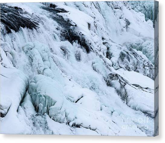 Frozen Gullfoss In Winter Canvas Print