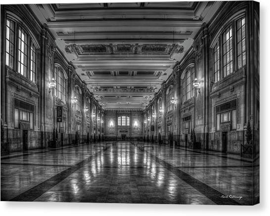 Frozen In Time B W Union Station Kansas City Missouri Art Canvas Print