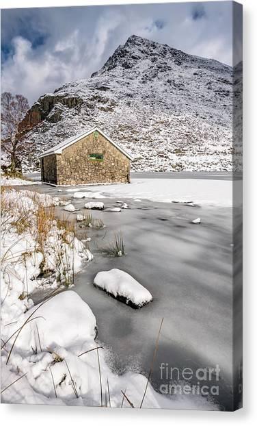 Ogwen Canvas Print - Frozen Lake Snowdonia by Adrian Evans