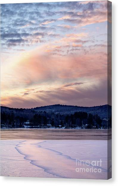 Frozen Lake Sunset In Wilton Maine  -78096-78097 Canvas Print