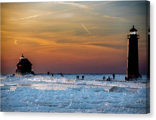 Frozen Lighthouse Canvas Print