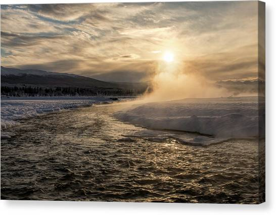 Canvas Print featuring the photograph Frozen Mist by Fred Denner