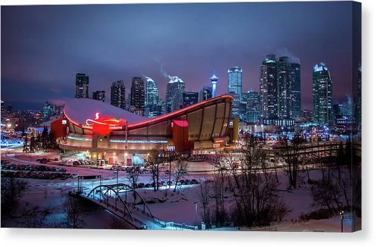 Calgary Flames Canvas Print - Frozen Purple City by Cory Huchkowski